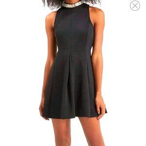 Top shop black high neck embellished skater dress4